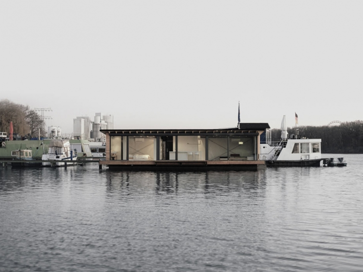 Modern Houseboat design Berlin floating house on the river