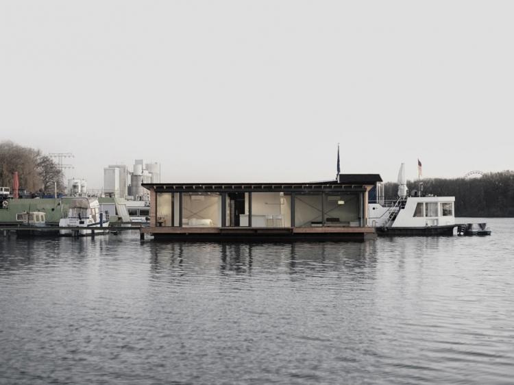 Modern Houseboat design Berlin floating house on the river