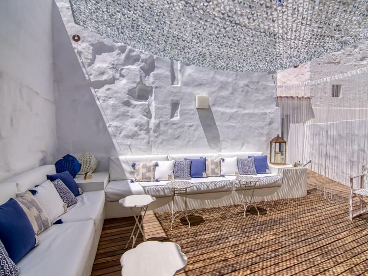 Terrace for clients and breakfast Hotel Ca s'Arader ciudadella menorca hotel design